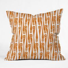 DENY Designs Home Accessories | Karen Harris Teardrops Orange On White Throw Pillow