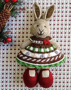 The dress was done with a cast on of 99 stitches and reduced to 36 at the waist. The bobbles were knit with only three rows each so they would not overpower the dress! Directions for the scalloped ...