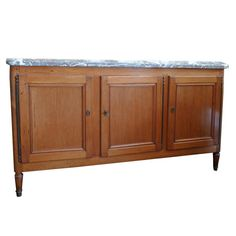 French 19th Century Three-Door Buffet with Removable Marble Top | From a unique collection of antique and modern buffets at https://www.1stdibs.com/furniture/storage-case-pieces/buffets/