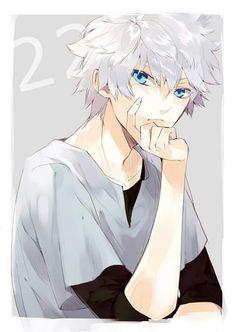 Killua Zoldick in HunterxHunter white hair blue eyes anime boy