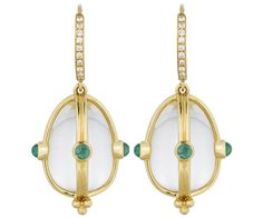 18K Classic Amulet Earring with emerald and diamond pavé - Temple St. Clair