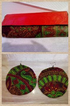 Ankara clutch & matching earrings