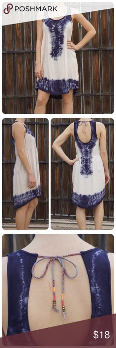 Roxy Tie Dye Dress Blue and white tie dye Roxy Sleeveless dress. Could be a fun swimsuit cover up for lounging by the pool. Size medium. Gently worn, couple small black marks on side of dress (shown in last photo). Women's medium. First photo is not mine, all others are. Roxy Dresses