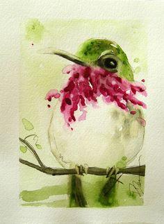 Hummingbird Original Watercolor Painting Bird Art