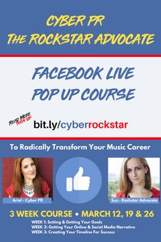 Ariel Hyatt Come take my Facebook Live Pop Up course to radically transform your music career starts March 12 a rare chance to be coached by me! #ArielHyatt 🔥🤝 Read Sign, March 12th, Your Music, Pop Up, Cyber, You Got This, Social Media, Goals, Facebook
