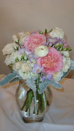 bride bouquet. Garden rose, ranunculus, freesia, dusty miller, hydrangea, spray rose