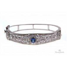 Retro Platinum & 14k White Gold Sapphire & Diamond Bracelet