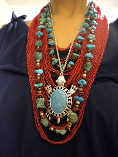 ~ Love The Combination of Turquoise & Coral Mixed Together ~