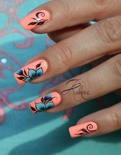 Kakine Nail Art: One stroke néon fleuri http://kakinenailart.blogspot.fr/2014/07/one-stroke-neon-fleuri.html