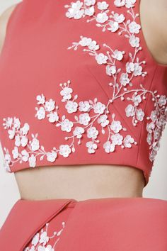 Azzi & Osta Couture SS 2015, Coral Silk Cropped Top and Skirt with Hand Sequined Florals