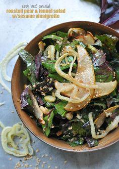 Roasted Pear & Fennel Salad w/Sesame Vinaigrette -- the perfect winter salad!