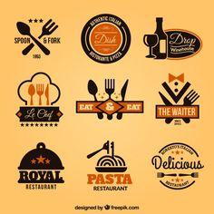 Коллекция значков ресторан Бесплатные векторы