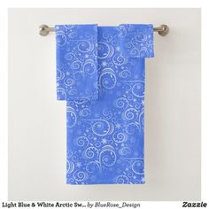 Light Blue & White Arctic Swirl Bath Towel Set Bath Towel Sets, Bath Towels, Christmas Items, Christmas Decor, Shop Lighting, Christmas Card Holders, Arctic, Keep It Cleaner, Colorful Backgrounds