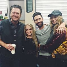 Blake Shelton, Danielle Bradbury, Adam Levine and Behati Prinsloo