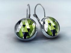 Ohrhänger Cabochon - Dreiecke Farbmix Smaragdgrün von Schmuckkauz