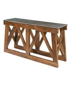 Look what I found on #zulily! Dark Marble Reclaimed Pine Console Table by Sarreid Ltd. #zulilyfinds