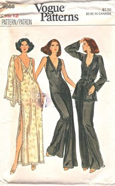 Vogue 9668 1970s Misses Lingerie Low Cut V Neck Evening Jumpsuit Negligee and Cardigan Peignoir womens vintage sewing pattern by mbchills