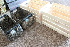 Hometalk :: DIY Mudroom Storage Crates