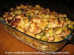 Ovenschotel met kip en spruitjes Dutch Recipes, Oven Recipes, Low Carb Recipes, Cooking Recipes, Healthy Recipes, Healthy Food, Good Food, Yummy Food, Oven Dishes