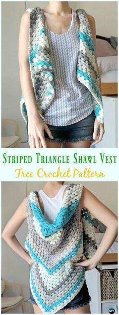 Crochet Striped Triangle Shawl-Vest Free Pattern - #Crochet; Women #Vest; Free Patterns