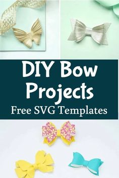 Free SVG and printable templates and tutorial. Making hair bows with the Cricut Making Hair Bows, Diy Hair Bows, Diy Bow, Diy Home Crafts, Handmade Crafts, Crafts For Kids, Bow Template, Printable Templates, How To Make Leather