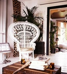 peacock chair, white peacock chair, bohemian room, modern decor, white wood floors, elegant room