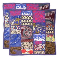 "Handmade Khambodia Patchwork Indian Cushion Cover Decor Pillow Case 24"" 2 Pcs #Handmade #Indian Decorative Pillows, Pillow Covers, Cushions, Indian, Quilts, Blanket, Handmade, Scrappy Quilts, Decorative Throw Pillows"