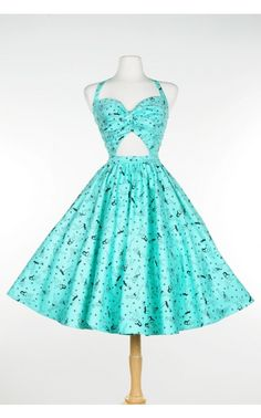 Renee Dress in Mint Pinup Girl Print