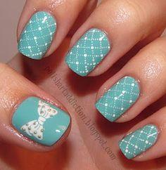 polish art, color, china glaze, tiffany blue, manicur, nail arts, bow nails, dot, blue nails