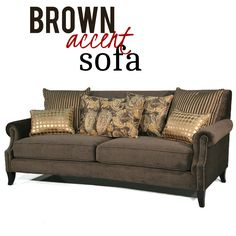 This plush sofa features brown microfiber upholstery, nailhead trim and decorative accent pillows for a stylish and fun masterpiece. Geatures hardwood construction. espresso finish and rolled arms. Sofa includes two (2) striped brown/gold accent pillows, two (2) brown/yellow/gold paisley accent pillows and two (2) gold circles accent pillows. Gold Accent Pillows, Settee, Nailhead Trim, Hollywood Regency, Sofa Furniture, Contemporary Furniture, Circles, Espresso, Classic Style