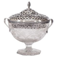 Hawkes Centerpiece with Gorham Sterling Silver Mount and Flower Frog-Grogan Co.4,600.00