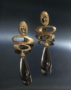 14k gold Handmade earrings & smoke topaz