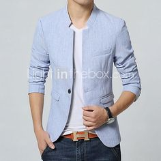 Men's Solid Casual Blazer,Cotton Long Sleeve Blue / Pink / Gray 2017 - $26.99