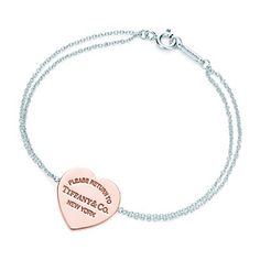 Bracciale piastrina a cuore Return to Tiffany™ in RUBEDO™ e argento, medio