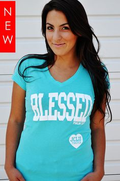 $17.99-Blessed Teal V Psalm 5:12 by JCLU Forever Christian t-shirts