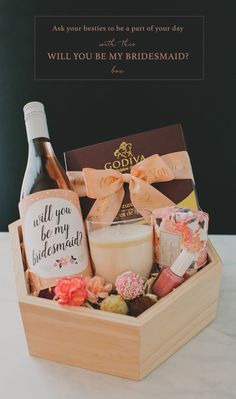 DIY Will You Be My Bridesmaid? Gift Box featuring rosé, @godiva truffles and…