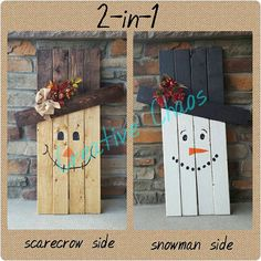 Hey, I found this reversible snowman and scarecrow on an Etsy listing at https://www.etsy.com/listing/246689810/double-sided-snowman-scarecrow-wooden
