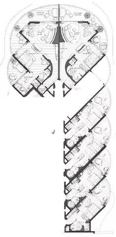 hotel floor plan JW Marriott Danang Resort Typical Floor Plan(section) Hotel Design Architecture, Architecture Plan, Arch Hotel, Resort Plan, Hotel Floor Plan, Apartment Plans, Studio Apartment, Floor Plan Drawing, Chalet Design