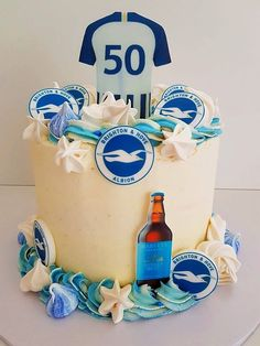 Favourite team ✅  Favourite beer ✅  Personalised shirt✅  Made to order birthday surprise from cake. ✅  www.cakesussex.co.uk info@cakesussex.co.uk 07813 588 110  #Shoreham #Brighton #CakeShoreham #CakeSussex Football Birthday Cake, Personalized Shirts, Brighton, Customised T Shirts, Custom Shirts