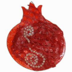 Pomegranate home decor 3D one of a kind sculpted red wine pomegranate - # 201 D adorned with lace and crystal swirls.
