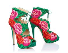 I would wear these with a super plain outfit. Incredible!  HIBISCUS - Charlotte Olympia