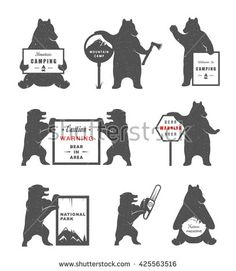 Illustration about Vintage Illustration bear with sign Warning Bears and lumberjack. Bear on a white background for camping signs and billboards. Illustration of graphic, handwritten, label - 72449018 Bear Signs, Camping Signs, Bear Logo, National Parks, Royalty Free Stock Photos, Batman, Superhero, Illustration, Fictional Characters