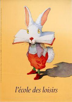 Recreational School Rabbit, 1992 - original poster by Philippe Corentin listed on AntikBar.co.uk