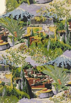 Textile Design, 'Acropolis' from Seven Wonders of the World Series   Elza Sunderland (Hungary, active United States, 1903-1991)   Gouache on cardboard   USA, 1937   Los Angeles County Museum of Art, LACMA