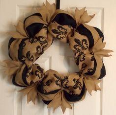 Burlap Wreath Fleur De Lis, Front Door Wreath, Black Tan, Ribbon   PataylaFloralDesigns - Housewares on ArtFire