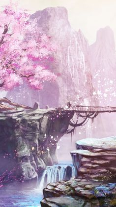 Find the best Anime Cherry Blossom Wallpaper on GetWallpapers. We have background pictures for you! Fantasy Art Landscapes, Fantasy Landscape, Fantasy Artwork, Landscape Art, Beautiful Landscapes, Beautiful Scenery, Beautiful Pictures, Anime Backgrounds Wallpapers, Anime Scenery Wallpaper