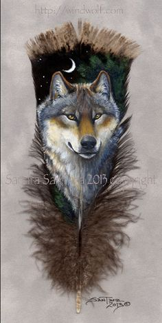 Wolf Guardian 2-Grey Wolf painted feather print
