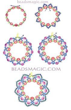 Free pattern for beautiful beaded earrings Berry Juice [ad &nb Beaded Earrings Patterns, Beading Patterns Free, Seed Bead Patterns, Beading Tutorials, Free Pattern, Bracelet Patterns, Bead Crafts, Jewelry Crafts, Handmade Jewelry