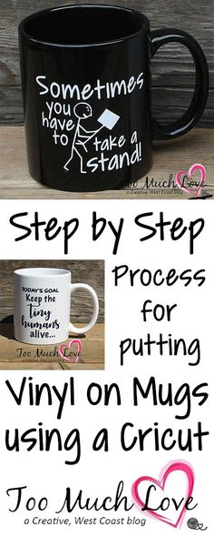 Easy teacher gifts! Customized mugs made by using vinyl and your Cricut. Includes PNGs of these teacher designs.