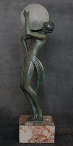 "Art Deco   spelter figure lamp by Pierre le Faguays (Fayral),   ""Farandole""  circa 1930, edited by Max Le Verrier, Paris-"